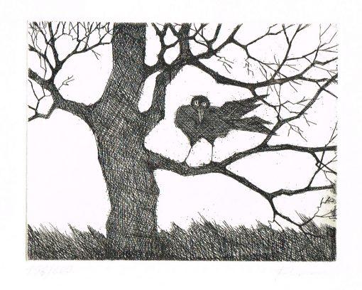 Paul Flora Rabe im Baum