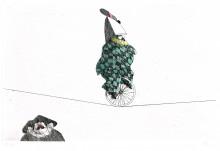 Flora Radierung Akrobatischer Clown Harlekin