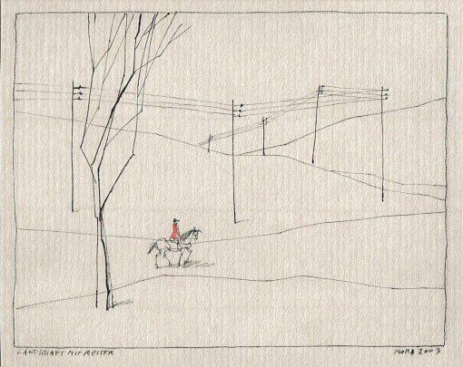 Flora Zeichnung Landschaft mit Reiter