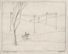 Paul Flora - Landschaft mit Reiter