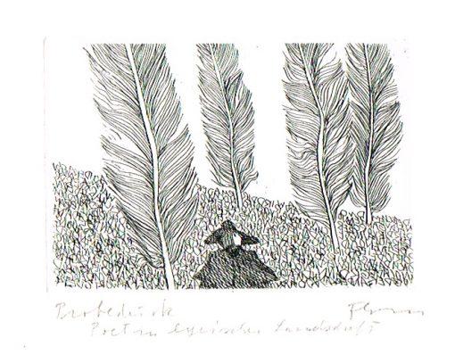 Flora Radierung Poet in lyrischer Landschaft