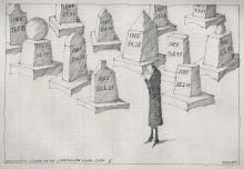 Paul Flora - Trauernder Künstler vor den Grabmälern seiner Ideen II