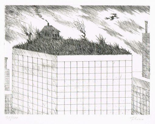 Flora Radierung Penthouse für eine Hexe