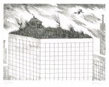 Paul Flora Radierung Penthouse für eine Hexe