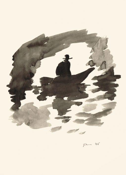 Paul Flora Boot in der Grotte