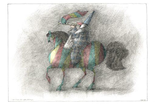 Paul Flora Der Clown auf dem Pegasus