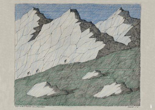 Paul Flora Die Wanderer im Gebirge