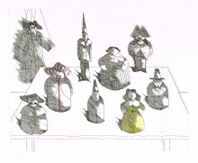 Paul Flora - Marionette mit acht Figuren