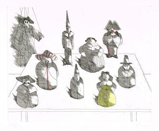 Paul Flora Marionette mit acht Figuren