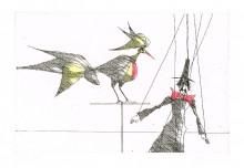 Paul Flora - Marionette und Vogel