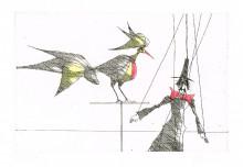 Paul Flora Marionette und Vogel