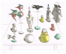 Paul Flora Radierung Ensemble mit Marionette