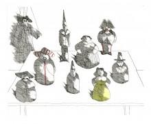 Paul Flora Radierung Marionette mit acht Figuren