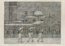 Paul Flora - 116. Venezianischer Winter mit drei Pulcinellen