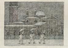 Paul Flora Venezianischer Winter mit drei Pulcinellen