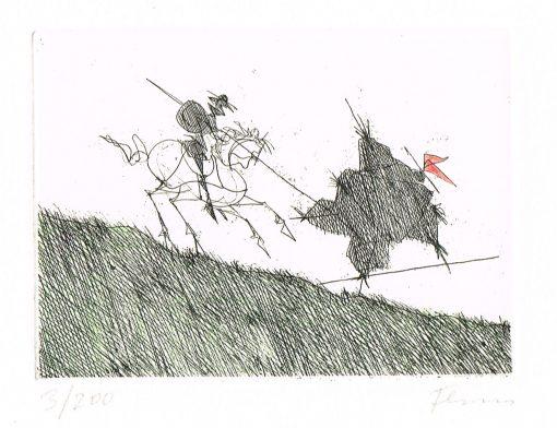 Pau Flora Don Quichote besiegt eine Scheuche