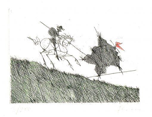 Paul Flora Radierung Don Quichote besiegt eine Scheuche