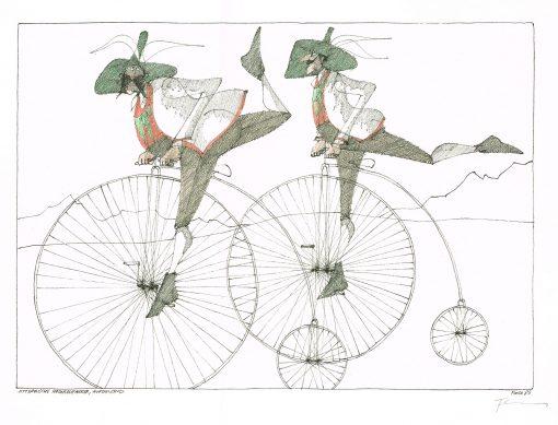 Paul Flora Alttyrolische Hochradfahrer, aufsteigend
