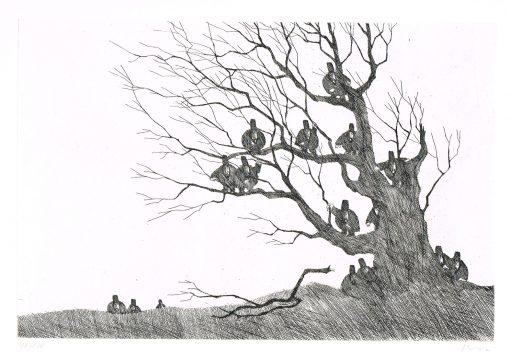 Paul Flora Dreizehn Unglücksraben im Baum
