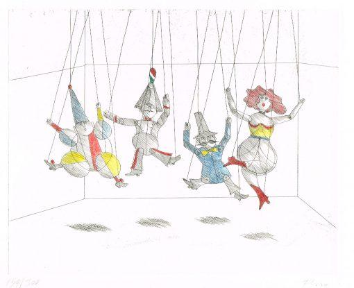 Paul Flora Radierung Marionettenbühne
