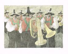 Paul Flora - Sieben Musikanten – handsigniert