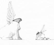 Paul Flora - Sphinx und verliebter Faun