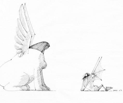 Paul Flora Sphinx mit verliebtem Faun