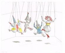 Paul Flora - Vier Marionetten