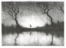Paul Flora - Wanderer am Wasser