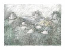 Paul Flora - Das Zigarrenkollegium der fünf dicken Damen (Ein wenig nach Bottero)