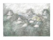 Paul Flora Das Zigarrenkollegium der fünf dicken Damen (Ein wenig nach Bottero)