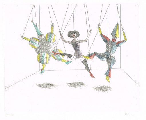 Paul Flora Drei Marionetten