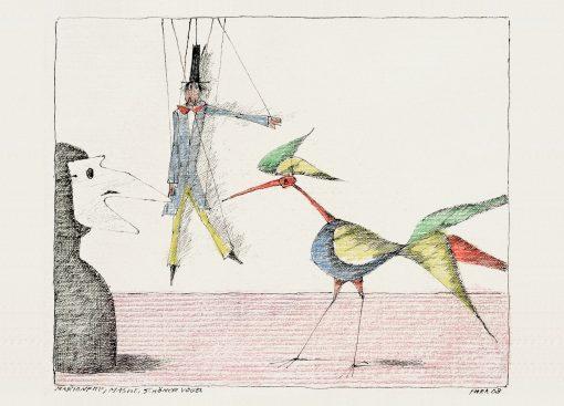 Paul Flora Marionette, Maske, Schöner Vogel