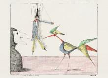 Paul Flora - 105. Marionette, Maske, schöner Vogel