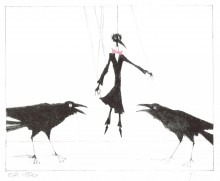 Paul Flora - Zwei Raben und Monsieur Corbeau