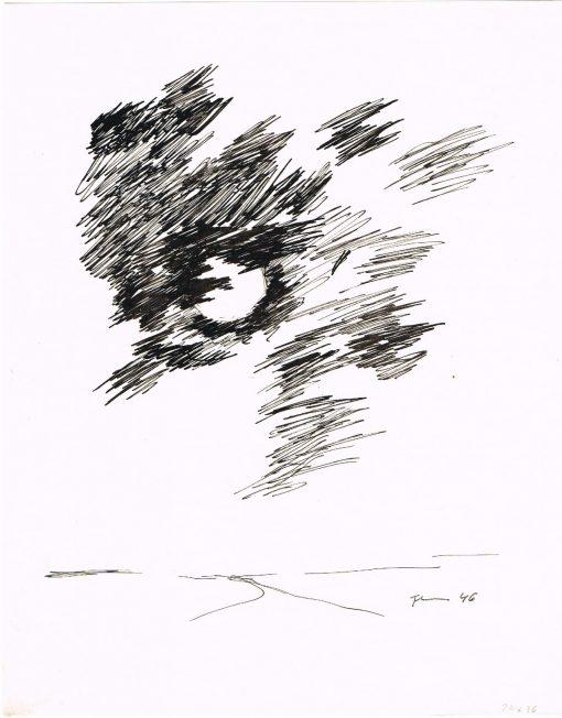 Paul Flora Ohne Titel (Mond hinter Wolken)