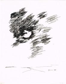 Paul Flora - Ohne Titel (Mond hinter Wolken)
