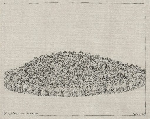 Paul Flora Ein Hügel voll Chinesen
