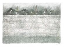Paul Flora - Acht verlarvte Figuren – handsigniert
