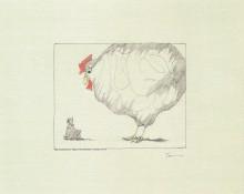 Paul Flora - Der schreckliche Traum vom großen weißen Huhn – handsigniert