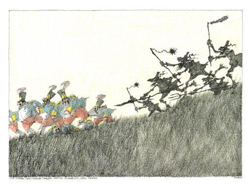 Paul Flora Die wilden, verwurzelten Tiroller und die fliehenden, bösen Feinde