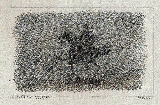 Zeichnung Paul Flora Düsterer Reiter