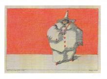Paul Flora - Harlekin vor roter Wand – handsigniert