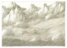 Paul Flora Huhn in heroischer Landschaft