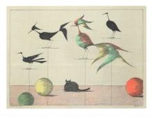 Paul Flora - Katze und Vögel – handsigniert