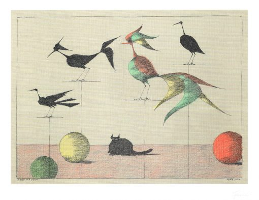 Paul Flora Katze und Vögel