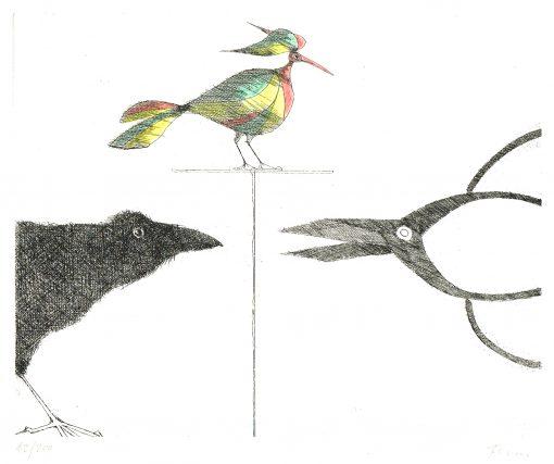 Paul Flora Rabe, Schere, Vogel