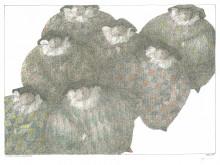 Paul Flora - Sieben dicke Harlekine – handsigniert