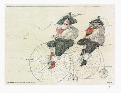 Paul Flora Wohlbeleibtes, alttyrolisches Paar, Hochradfahrend
