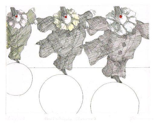 Paul Flora Akrobatische Clowns